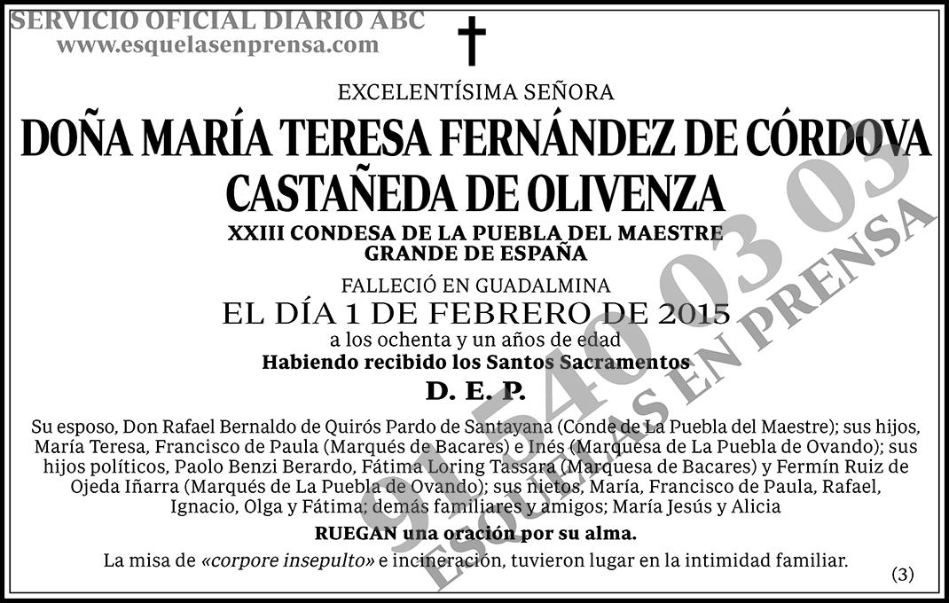 María Teresa Fernández de Córdoba Castañeda de Olivenza